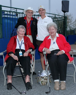 Karrie with 3 of the Founders, Louise Suggs, Marilynn Smith and Shirley Spork