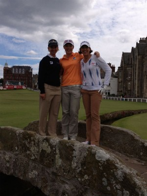 2013 British Open - St Andrews Swilken Bridge with Stacey Keating and Juli Inkster